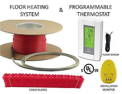 ELECTRIC FLOOR HEAT TILE HEATING SYSTEM + THERMOSTAT 40sqft