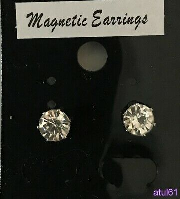 8 mm CLIP ON MAGNETIC CZ STONE EARRING MEN'S/LADIES FASHION ACCESSORIES NEW
