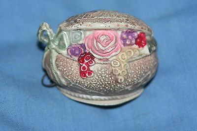 Celluloid TAPE MEASURE,FLOWER BASKET PARTLY OPEN LID