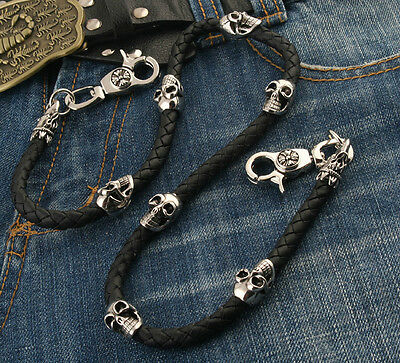 "Skull Leather String EMO Biker Trucker Key Jean Wallet Chain (29"") Silver CS83"