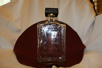 1980's Saronno Barware Clear Glass Liquor Decanter Bottle with Cork Stopper