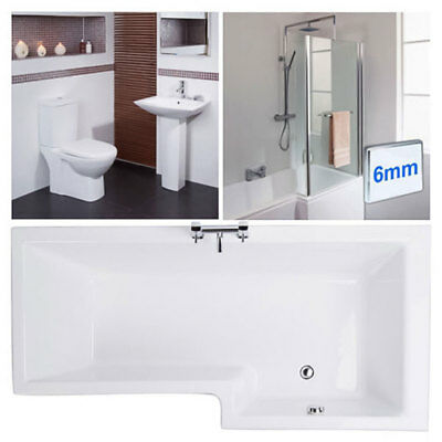1670mm Right Hand L Shape Shower Bath L Shaped Bathroom Suite Hinged Screen