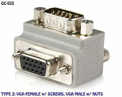 VGA (HD15) Male to Female Right Angle Video Adapter, Type 2