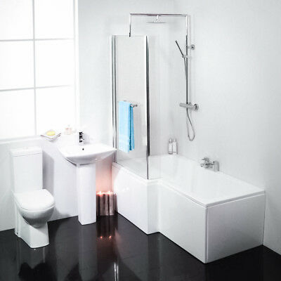 Modern Left Hand L-Shaped Square Shower Bath Fixed Screen Suite Shower Toilet