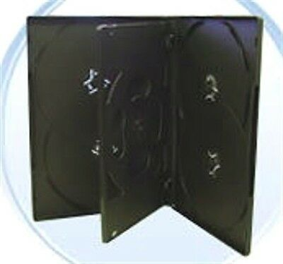 25 PK. BLACK 6-Disc DVD CASES w/ clear front slip cover