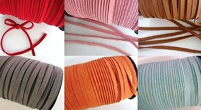 10 yd Genuine Leather 6mm Flat Suede Cord Trim/Beading Thread Red/Pink/Blue T179