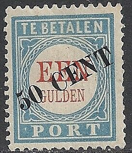 Netherlands 1906 NVPH Due 28fa Plate Error  MLH  VF