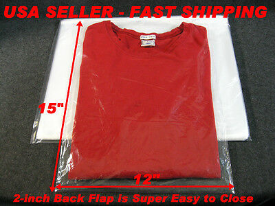 """100 LOT - 12x15 CLEAR POLY PLASTIC BAGS WITH 2"""" BACK FLAP T- SHIRT / DRESS SHIRT"""