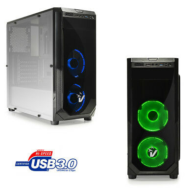 CASE PC GAMING ATX CABINET USB 3.0 HD-AUDIO CON 3 VENTOLA LED DA 12Cm SD CARD