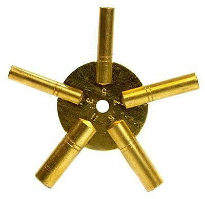 New Brass Universial Clock Key for Winding Clocks 5 Prong ODD Numbers US SHIPPER