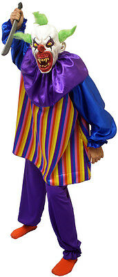 "Halloween/Horror/Creepy/EVIL ""IT"" STYLE STRIPED CLOWN Fancy Dress Costume S-4XL"