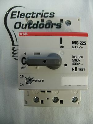 Abb Manual Motor Starter Ms225 0.4 - 0.63 Circuit Breaker Amp 400 Volt 3 Pole