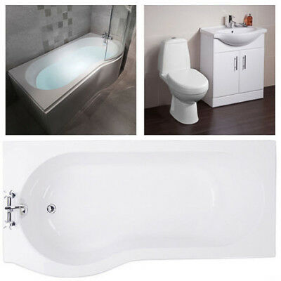 WC Toilet Basin Sink & Storage Vanity Unit & P Shape Shower Bath Bathroom Suite