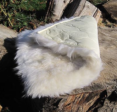 GENUINE SHEEPSKIN RUG NURSERY SEAT MAT 74 x 48cm QUILT BACKED