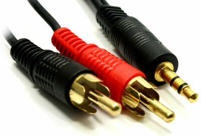 5M Metre 3.5mm Stereo Audio Jack to 2x Twin Male RCA Phono Plugs Gold Cable Lead