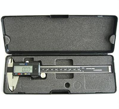 """New 6"""" Stainless Steel Digital Caliper w Extra-Large LCD Screen SAE & MM US SHIP"""