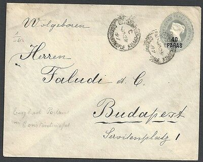 British Levant 1897 ovpt cover Constantinople- Budapest