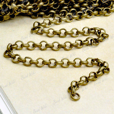 4m Antique Brass Unfinished Rollo Iron Chain Findings 3×3×1mm CH114-4