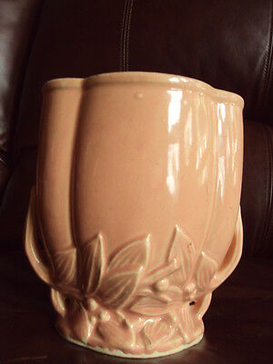Coral Color Vintage McCoy Planter or Vase Leaves & Berries