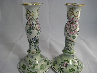 Asian Chinese Oriental Floral Candle Holders Hand Painted Porcelain Rare Marked