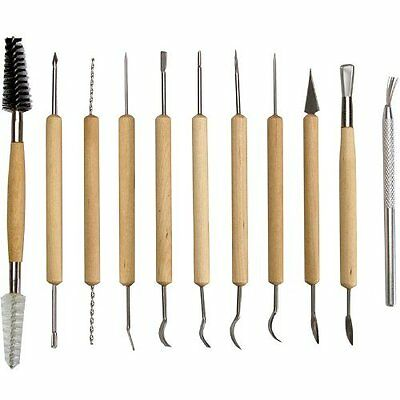 11pc Double Sided Pottery Clay Ceramics Molding Tool Carving Sculpture Jewelry
