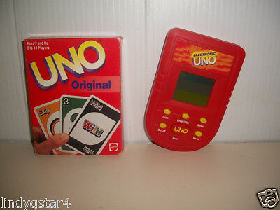 Handheld Game Mattel Vintage Uno Original Card Game Electronic Uno 2-4-1 Family