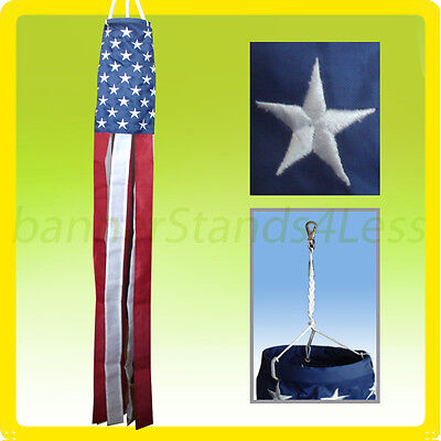 """60"""" WINDSOCK USA American Flag Nylon US Fourth July Patriotic Embroidered b"""