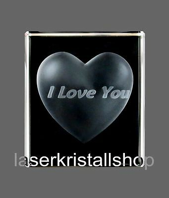 "3D Laser Kristall "" Herz- I Love You "" NEU/ OVP"