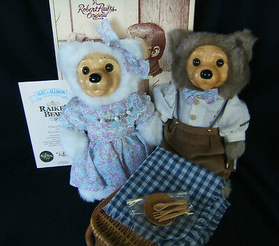"""RAIKES BEARS """"ALEC & ALLISON""""  Picnic Pair by Applause 1992 COA  New in Box"""