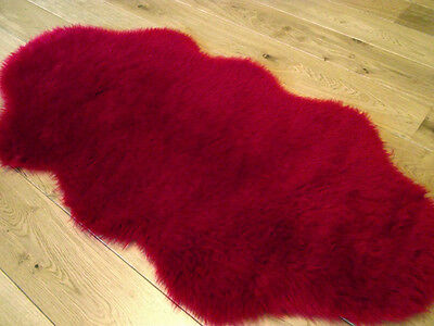 Plain Ruby Red Soft Fluffy Bed Room Faux Fur Fake Hairy Sheep skin Rugs Washable