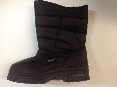 Mens BLACK SNOW RAIN BOOTS WITH ZIPPER Water Repellent Nylon Sizes 7 to 13 NEW