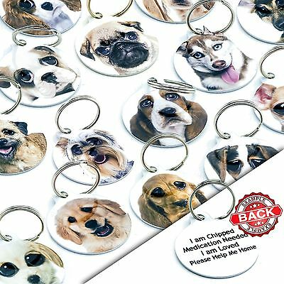 Breed Cute Personalised Pet Dog ID Identity Tags -Engraved FREE - Use Own Image