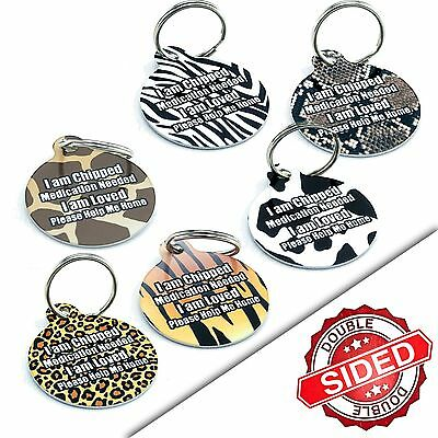 Custom Animal Print Personalised Pet Dog Cat Name ID Identity Tags-Engraved FREE