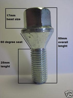 Replacement Vauxhall Astra Wheel Bolt m12 x 1.5 new nut