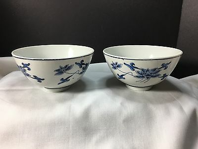 "RICE BOWLS MATCHED PAIR BY ""GREAT CHINA"" SET of 2 RARE &  ELEGANT BLUE ON WHITE"