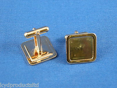 10Pcs Cufflink blank 16mm Square for dome gold plated