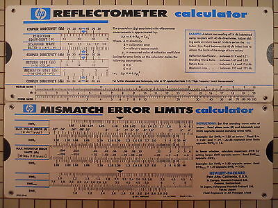 HP Agilent 5952-0948 Reflectometer & Mismatch Error Limits Slide Rule Calculator