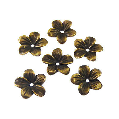 Antiqued style bronze tone jewellry flower beads cap findings 60pcs