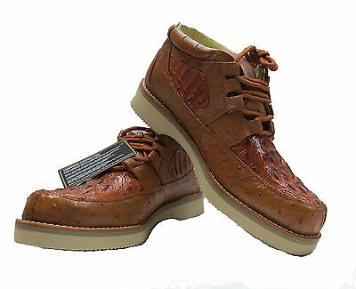 Men s New Genuine Alligator Crocodile and Ostrich Real Skin Sneaker Shoes Cognac