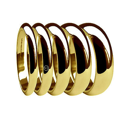 18ct Yellow Gold Wedding Rings D Shaped X Heavy 2, 3, 4, 5, 6mm 750 UK HM Bands