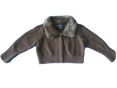 Baby Gap Girl Faux-Fur Collared Cardigan Brown New With Tag