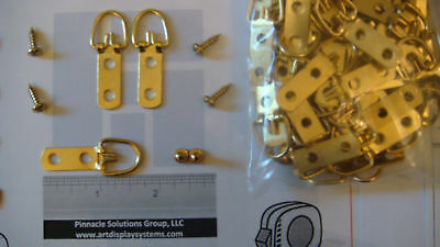 50 Heavy Duty Brass 2 Hole Triangle D Ring Picture Hangers + Free Framing Sample