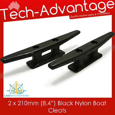 "2 X 210Mm  8.4"" Uv Resistant Black Nylon Boat Bar Cleats"
