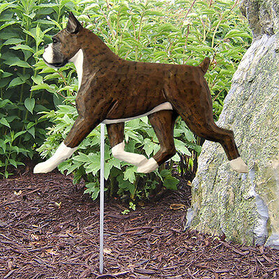 Boxer Cropped Dog Figure Garden Stake. Home Yard & Garden Dog Products & Gifts.