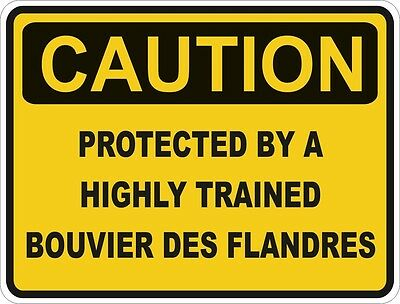 1x CAUTION PROTECTED BY BOUVIER DES FLANDRES WARNING FUNNY STICKER DOG PET DECAL