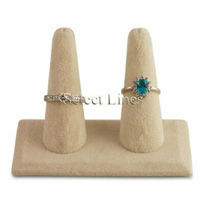 NEW Beige Suede 2 Finger Ring Stand Jewelry Display