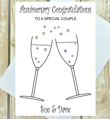 Personalised Wedding Day Anniversary Congratulations Card Champagne Celebrate