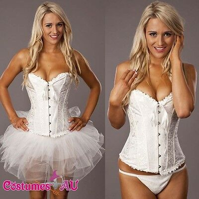 Ladies white Angel Costume Corset Womens Tutu Skirt Petticoat S-6XL plus size