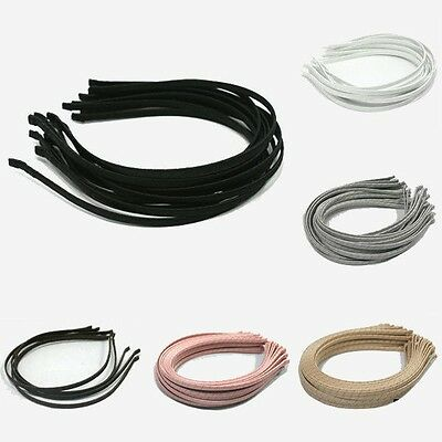 $ FREE SHIP 5mm METAL HEADBAND covered satin WHOLESALE LOTS HAIR BAND ACCESSORY