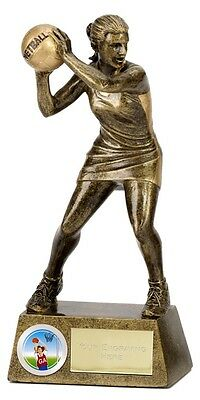 "Netball Trophy Award  Female Figure 6"" - Free Engraving - 1203A"